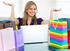 Satisfied Online shopper with bags